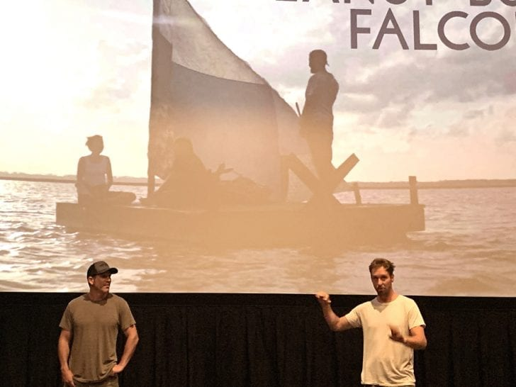 Outer Banks native, Tylor Nilson (right) answers questions following the local premier of his movie, Peanut Butter Falcon, as his co-direrctor and writer, Michael Schwartz, looks on. Photo, Kip Tabb.