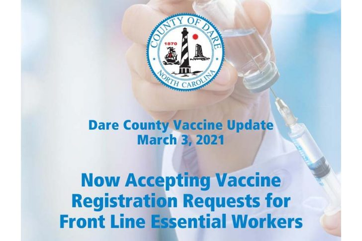 Dare County now accepting vaccine registration requests for Phase 3: Front Line Essential Workers.